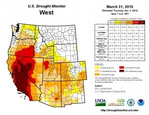 Western U.S. Drought Monitor: 31-Mar-2015