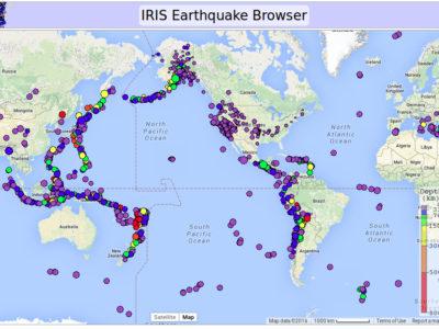 IRIS Earthquakes Graph 12/12/2015 to 2/4/2016