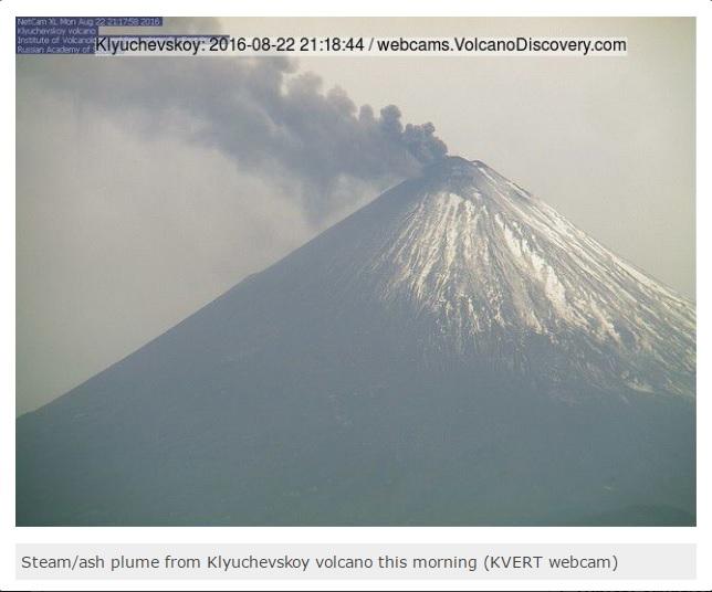 08-22-2016 Klyuchevskoy Kamchatka 23,000 ft ash plume
